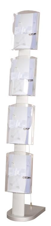 Prospektständer, 4-fach (DINA4, Arcyglas und Aluminiumprofil)